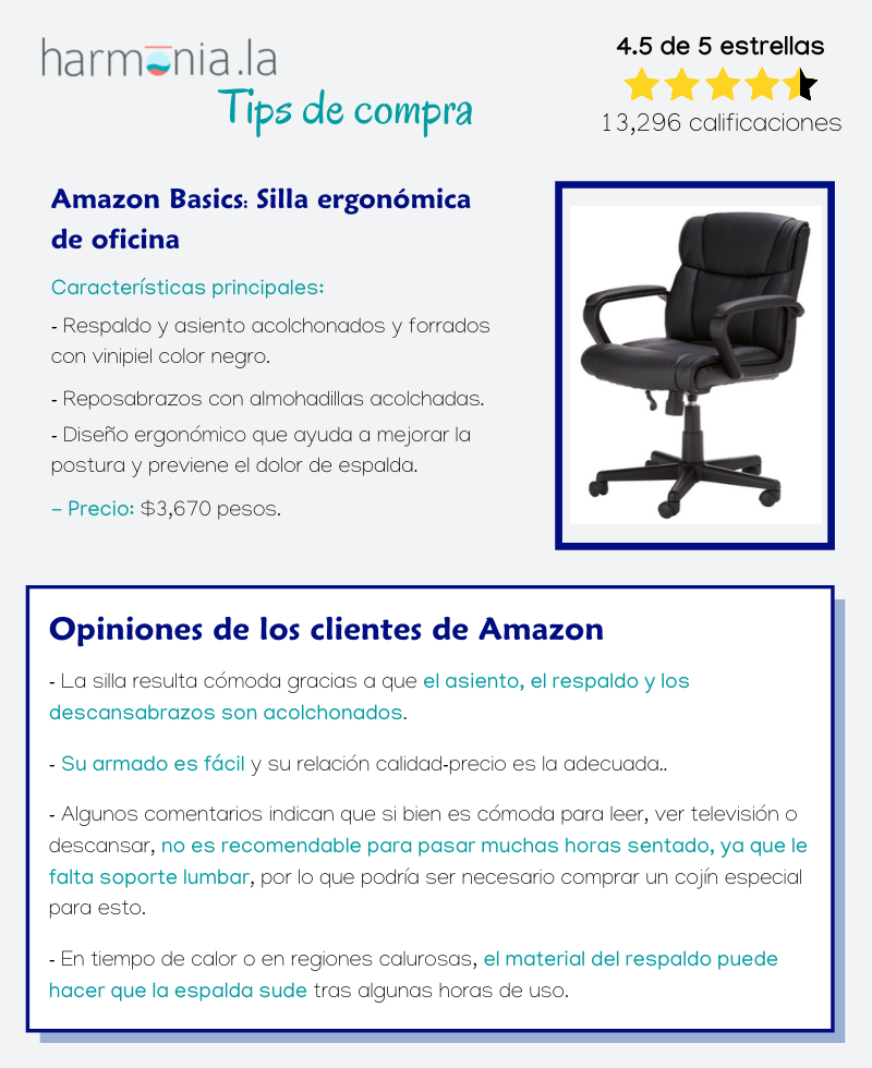 Amazon Basics: Silla ergonómica de oficina