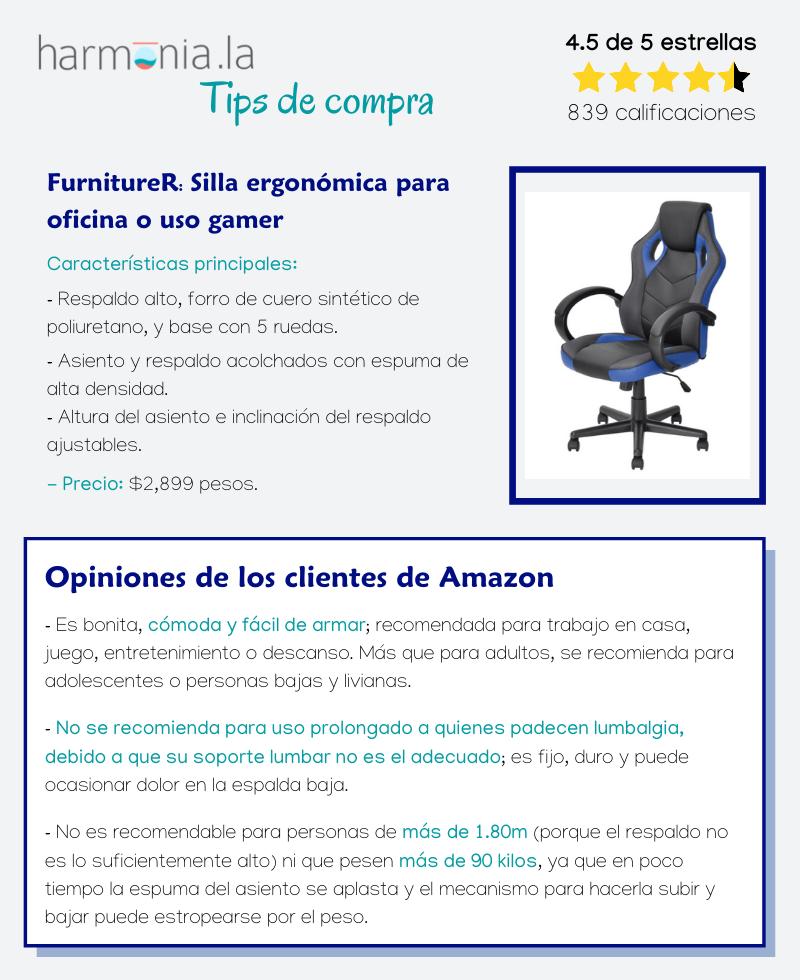FurnitureR: Silla ergonómica para oficina o uso gamer